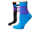 Nike Dri-FIT Crew Sock 3-Pair Pack (White/White/Light Photo Blue/Photo Blue/Black/Hyper Grape)