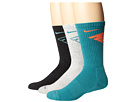 Nike Dri-Fit Fly Crew 3-Pair Pack (Black Heather/Bleached Turquoise/Grey Heather/Catalina/Catalina)
