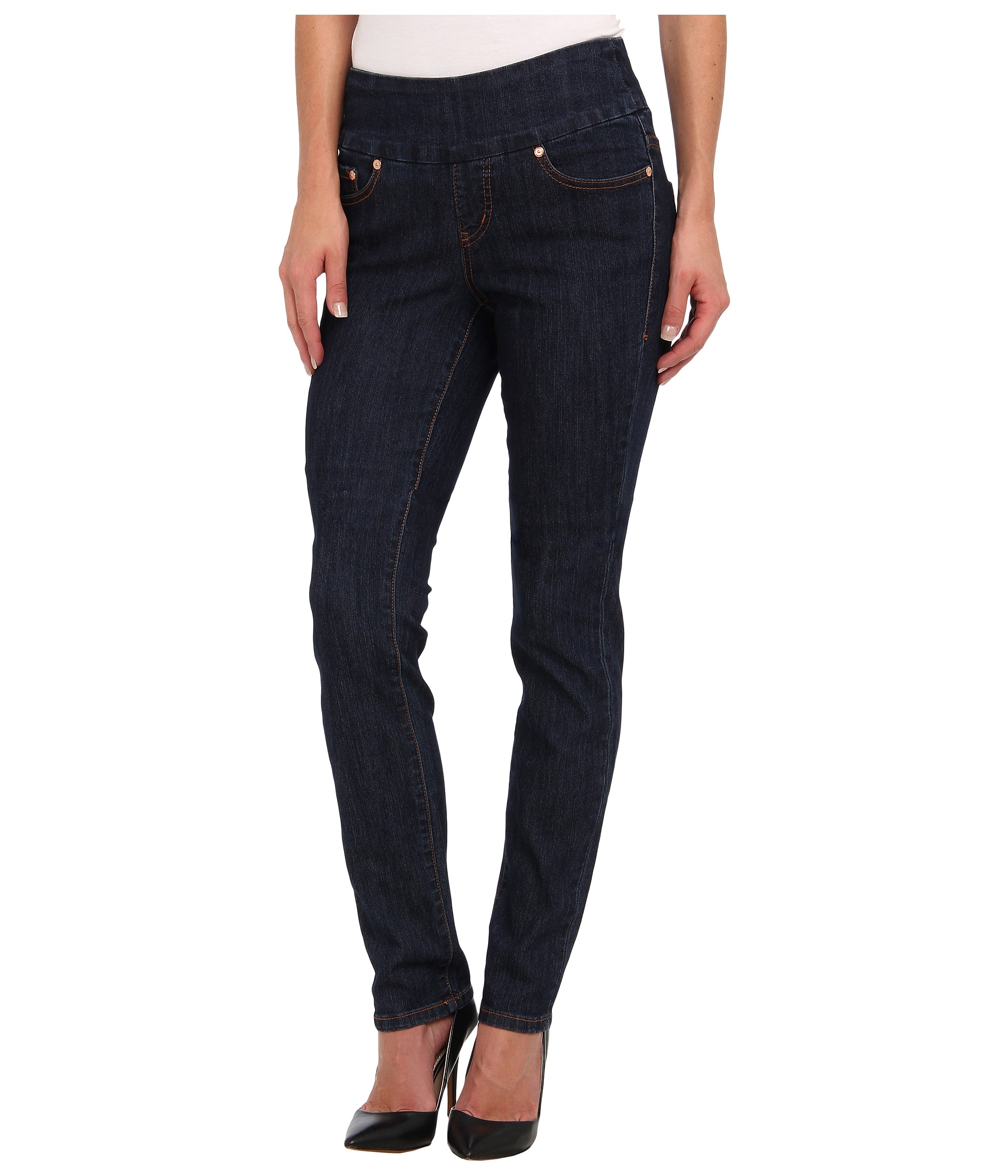 Jag Jeans Malia Pull-On Slim in Dark Shadow at Zappos.com