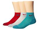 Nike Dri-FIT Cushion Quarter 3 Pack (Gym Red/Catalina/Grey Heather/Gym Red/Catalina/Gym Red)