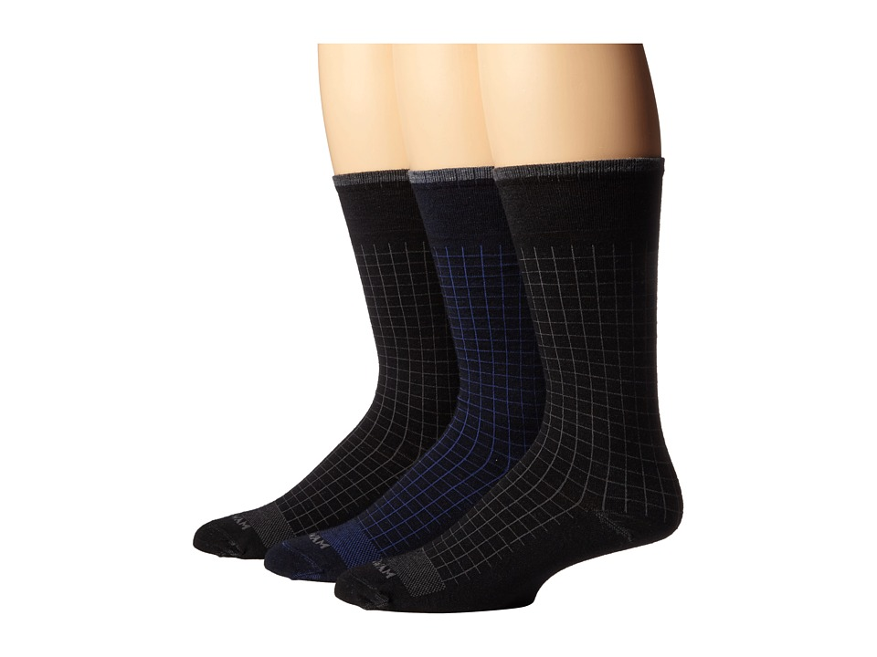 Wigwam Byron 3 Pair Pack Navy/Black/Black Mens Crew Cut Socks Shoes