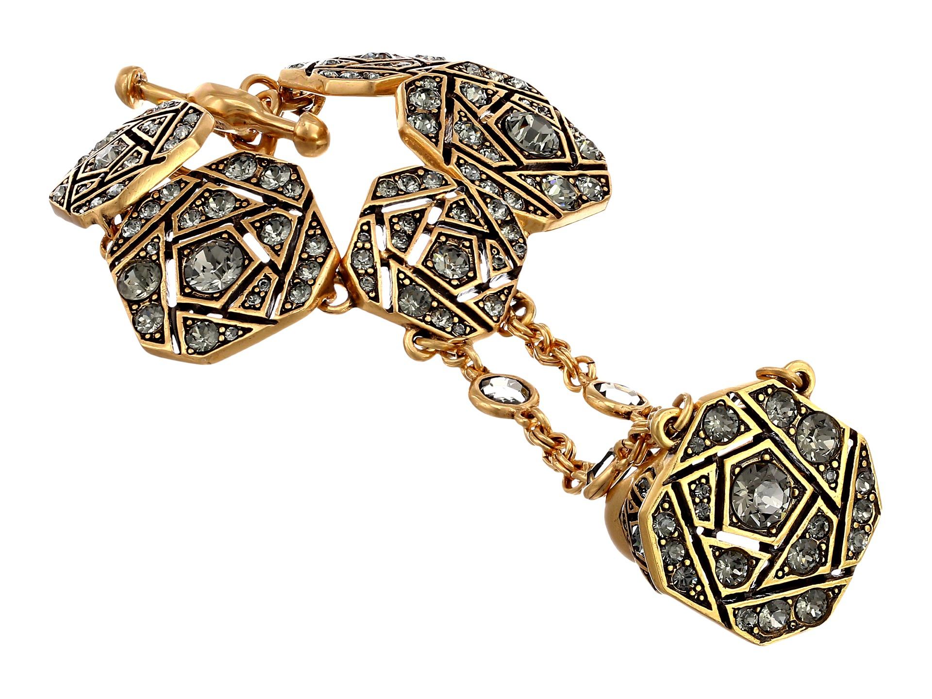 oscar de la renta pave bracelet with ring attached