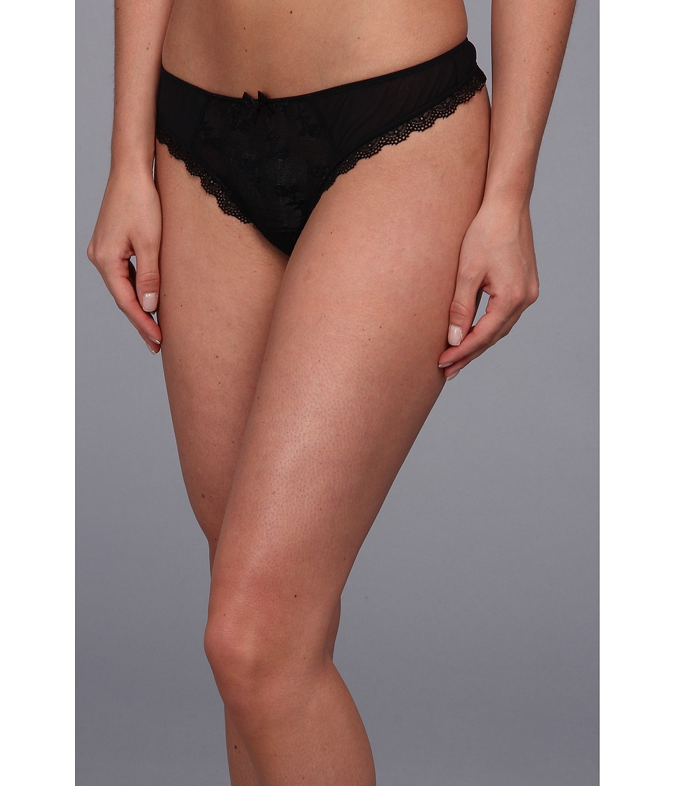Free People Sheer Lace Floral Embroidered Thong Black Womens Underwear