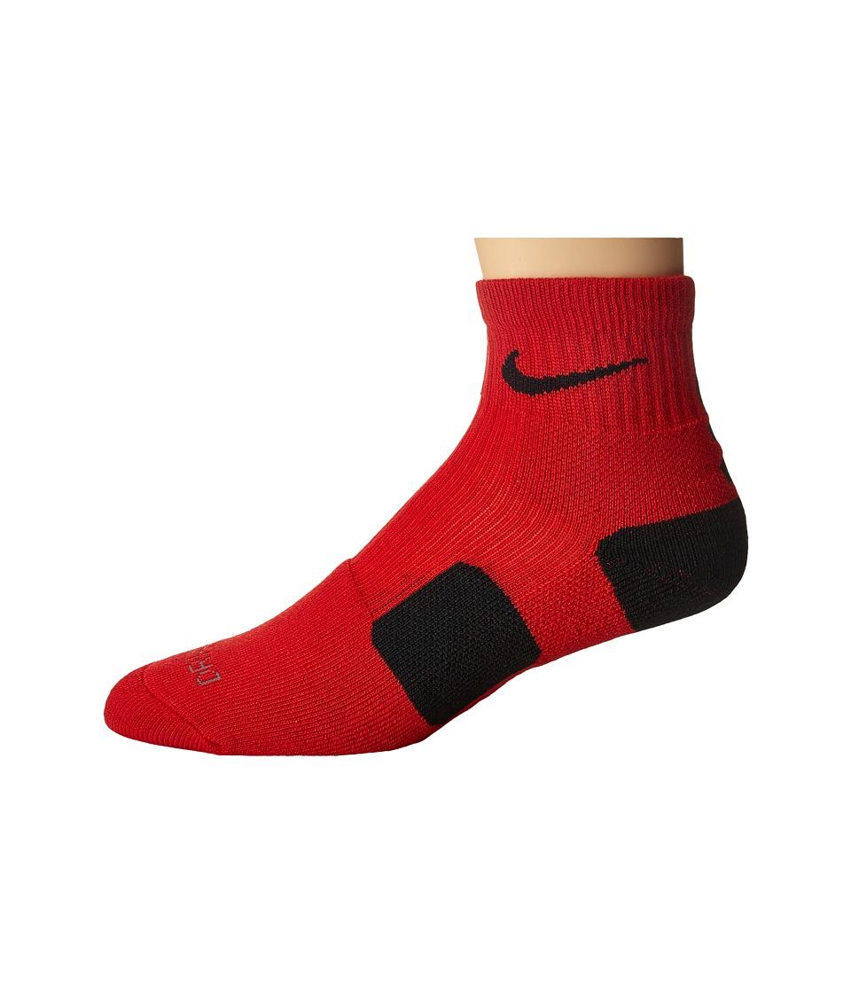 Nike - Elite Basketball HQT (University Red/Black/Black) Quarter Length Socks Shoes