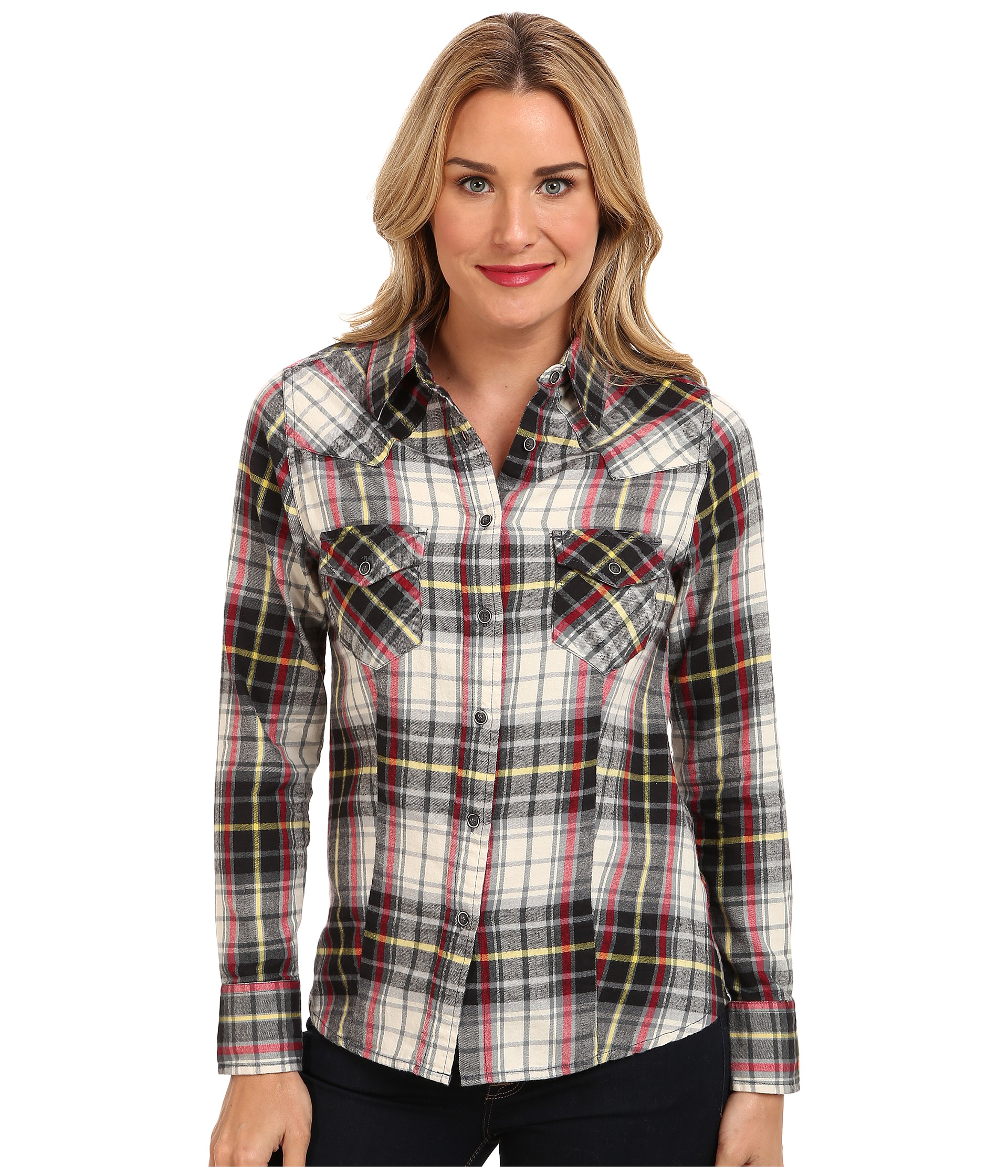 Jag jeans rio shirt semi fitted in grey red plaid grey red for Grey plaid shirt womens