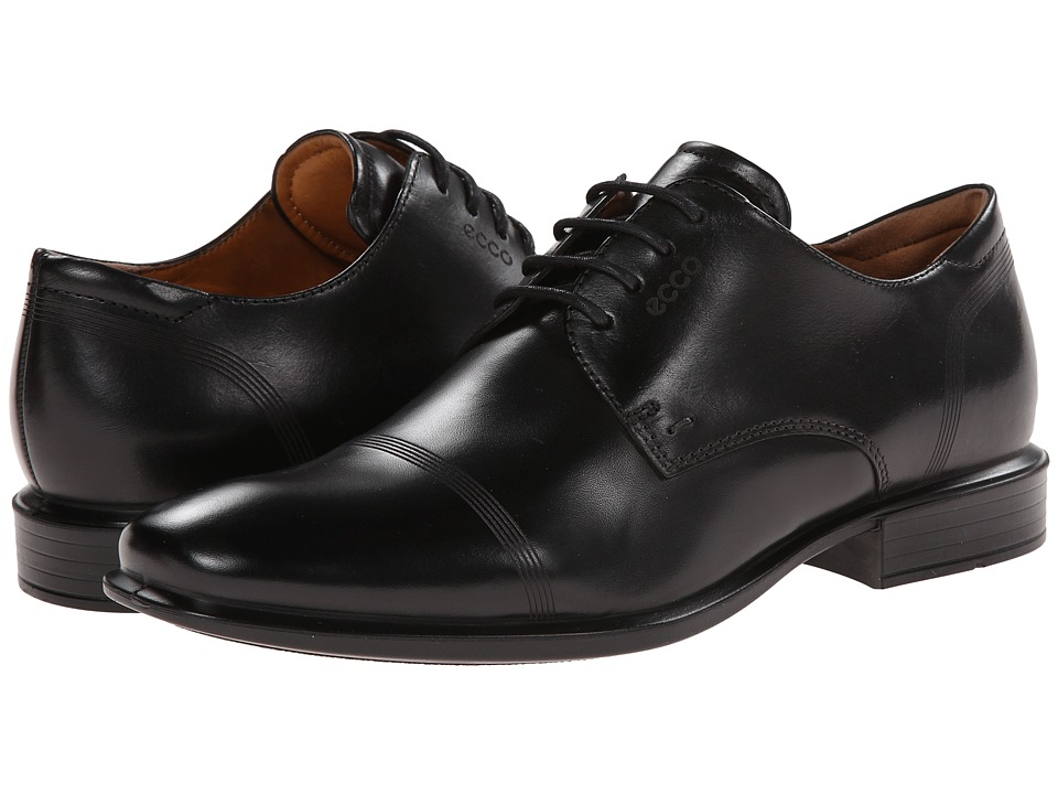 ECCO Cairo Modern Cap Toe Tie Black Mens Lace Up Cap Toe Shoes