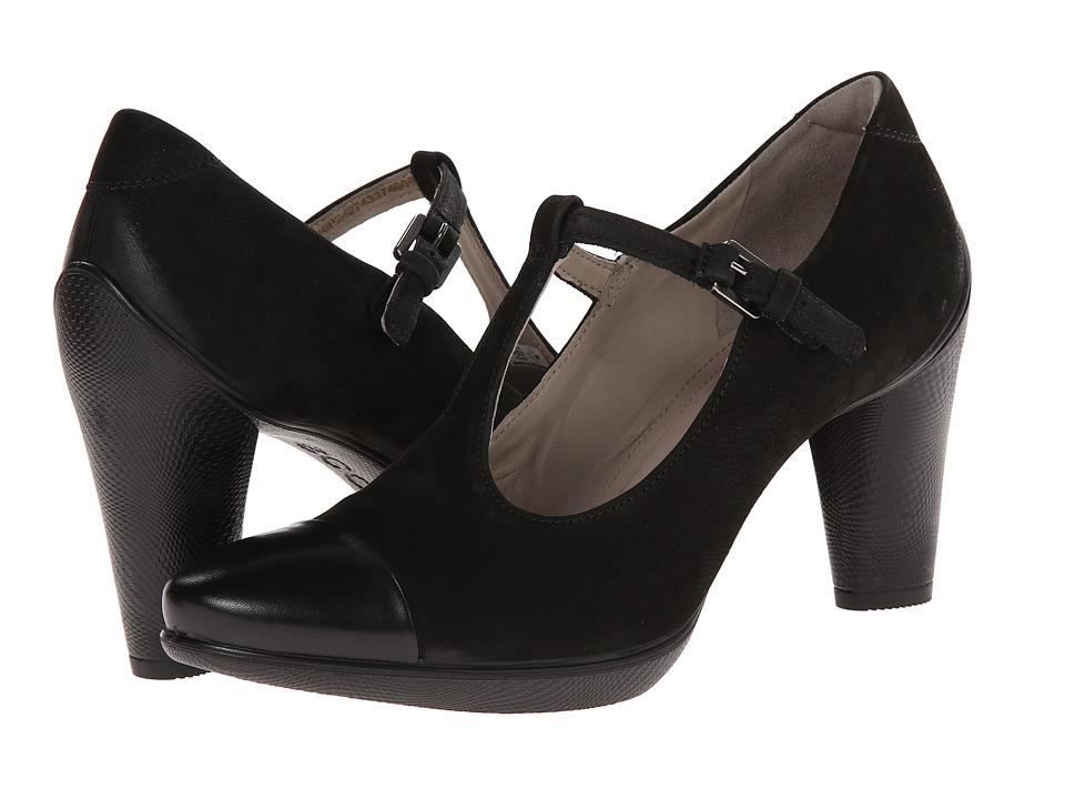 ECCO - Sculptured 75 T-Strap BlackBlack High Heels $160.00 AT vintagedancer.com