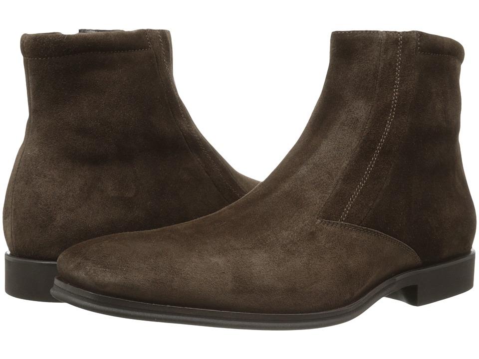 Bruno Magli Raspino Dark Brown Suede Mens Dress Zip Boots
