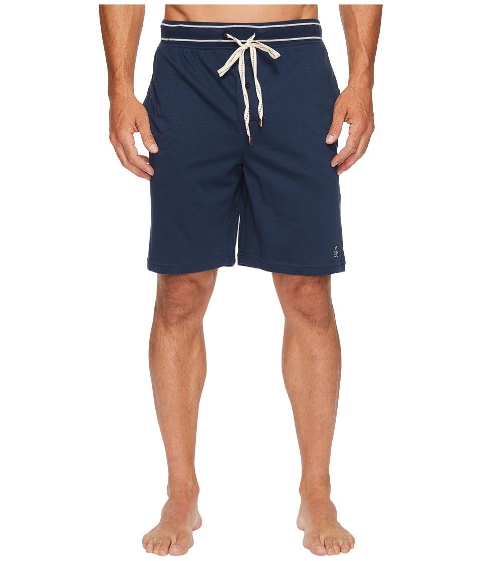 Original Penguin Comfortable Soft Knit Sleep Shorts (Navy) Men