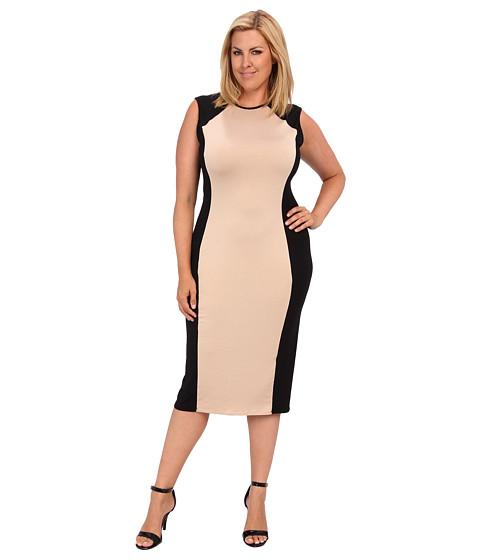 Rachel Pally Plus - Plus Size Shyla Two-Tone Dress White Label (Black/Bamboo Colorblock) - Apparel