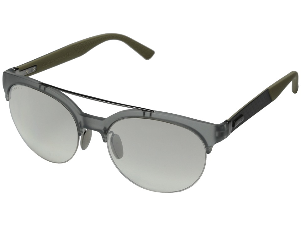 Gucci GG 1069/S Transparent Gray/Gray Mirror Gradient Fashion Sunglasses