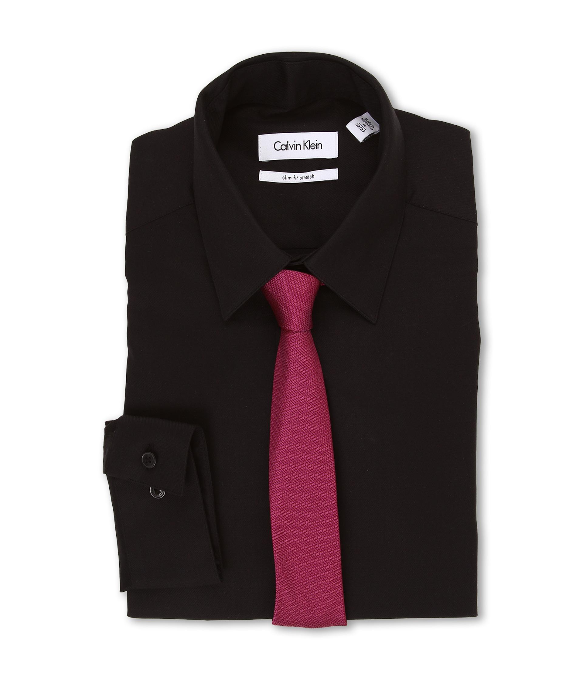Calvin klein slim fit stretch solid l s point dress shirt for Calvin klein slim fit stretch shirt