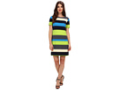 Donna Morgan - Elbow Sleeve Colorblock Dress (Blue/Lime Multi)