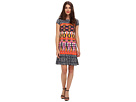 Donna Morgan - Cap Sleeve Dropped Torso Dress (Denim/Marigold Multi)