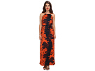 Donna Morgan - Maxi with Braided Trim Shoulder Detail (Clementine/Blue Dusk)