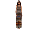 Donna Morgan - Printed V-Neck Maxi with Beaded Neckline (Mustard/Rustic Brown Multi)
