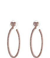 Betsey Johnson - Hoop Crystal Heart Gold Medium Hoop Earrings