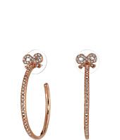 Betsey Johnson - Hoop Crystal Bow Small Hoop Earrings