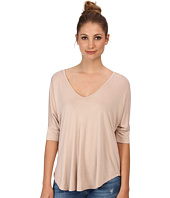 Three Dots - V-Neck Tee w/ Pleat Detail