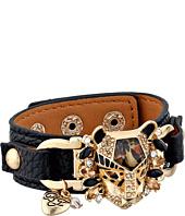 Betsey Johnson - Hollywood Glam Leopard Head Leather Snap Bracelet