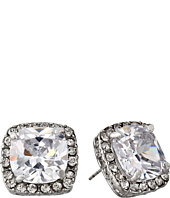 Betsey Johnson - CZ Crystal Halo Large Square Stud Earrings
