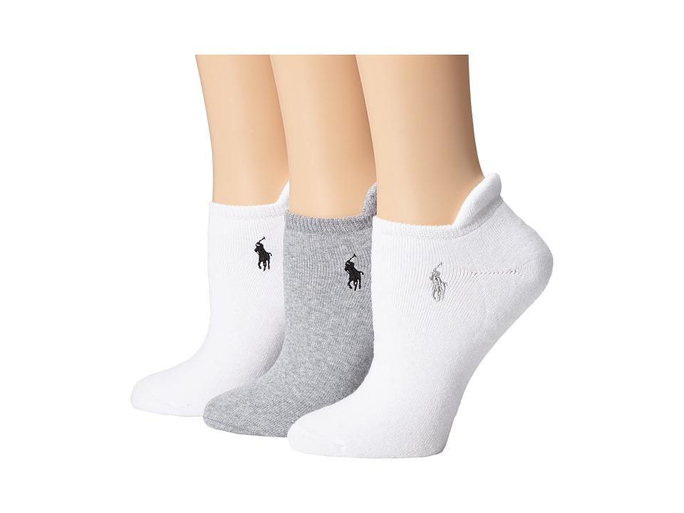 LAUREN Ralph Lauren - Heel Tab Cushion Sole Cotton Low Cut 3 Pack (Grey/White) Womens Low Cut Socks Shoes