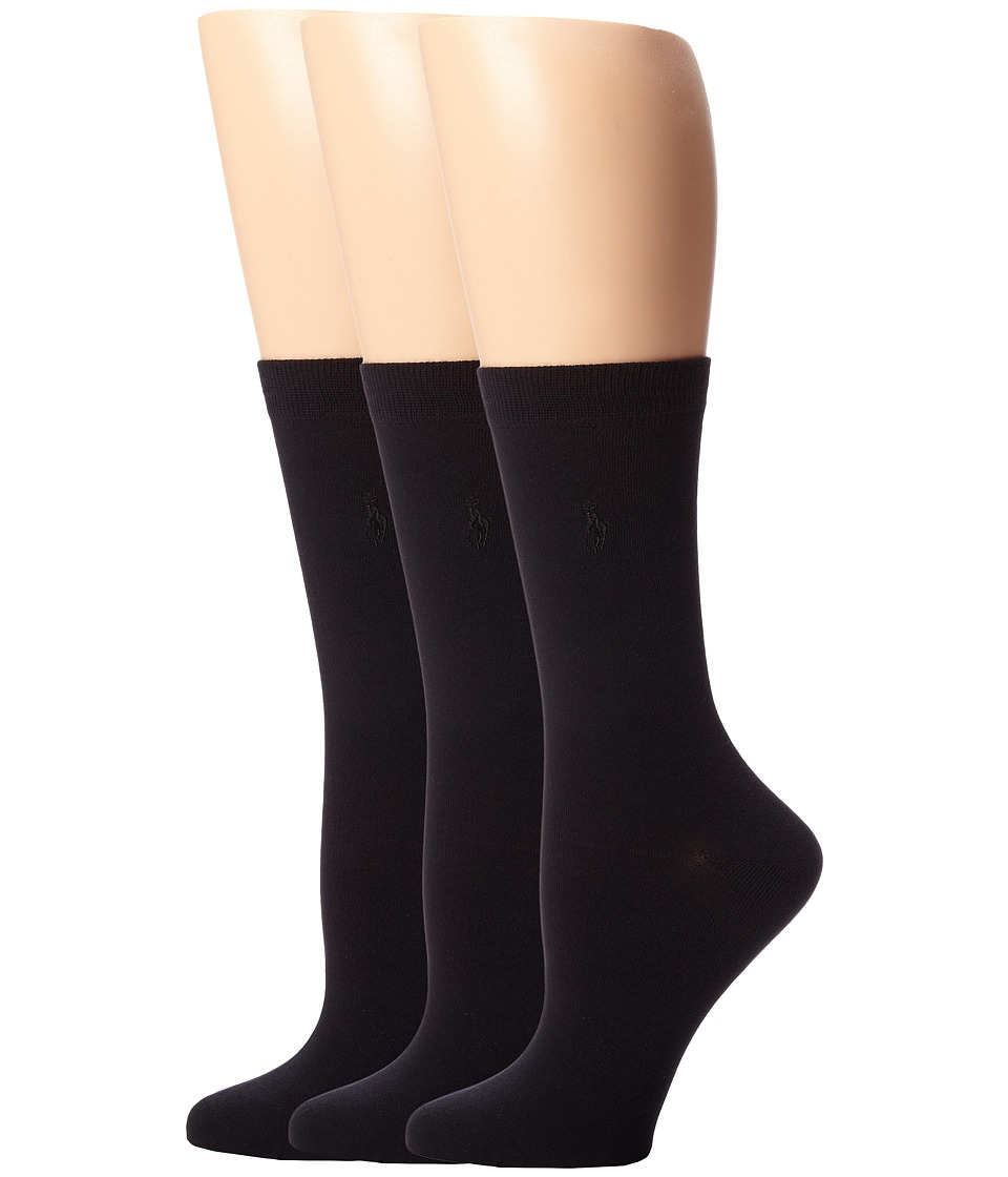 LAUREN Ralph Lauren - Classic Flat Knit Trouser 3 Pack (Black) Womens Crew Cut Socks Shoes