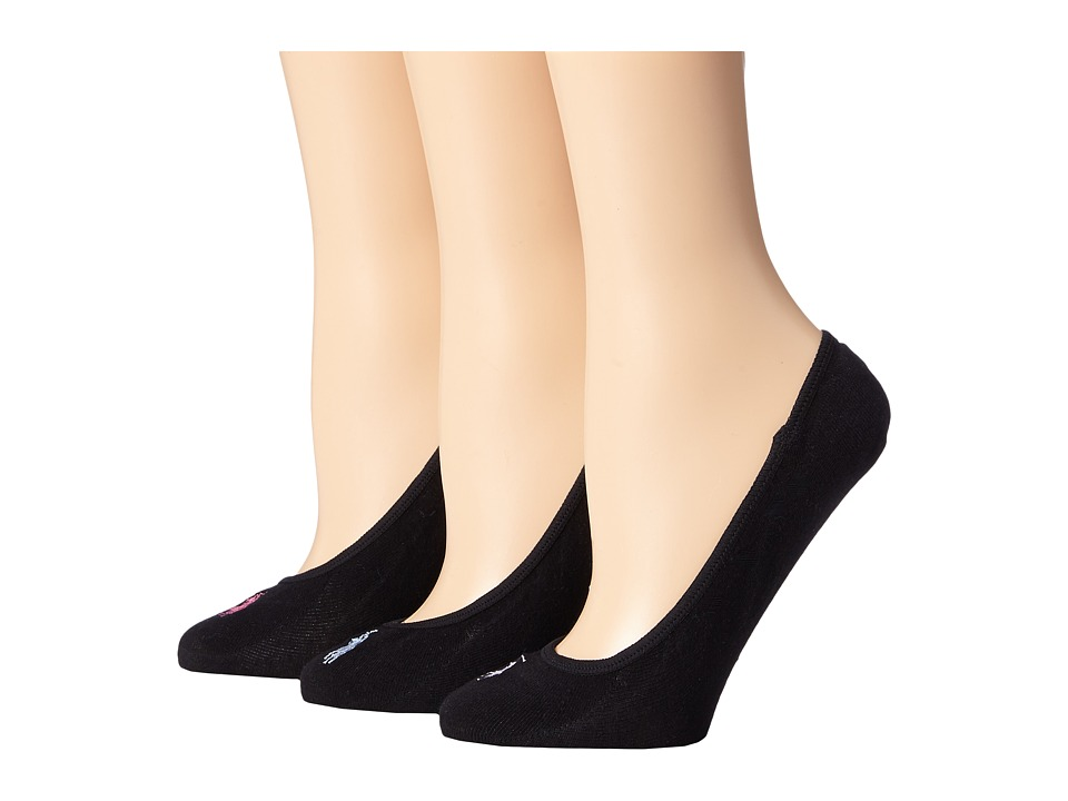 LAUREN Ralph Lauren - Ultra Low Cotton Liner 3 Pack (Black) Womens No Show Socks Shoes