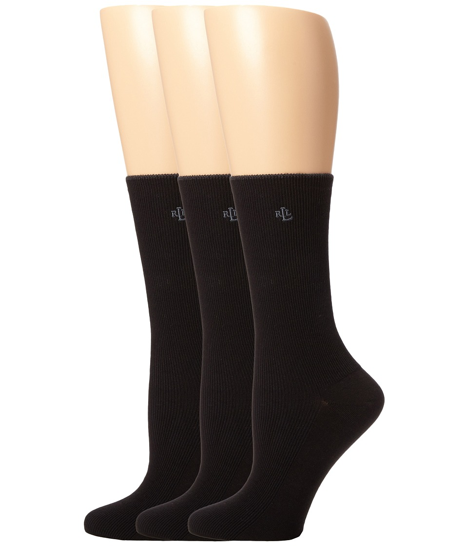 LAUREN Ralph Lauren - Tipped Rib Trouser 3 Pack (Black) Womens Crew Cut Socks Shoes