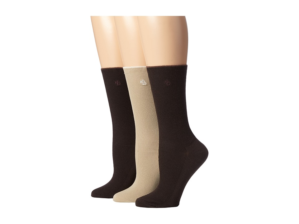 LAUREN Ralph Lauren - Tipped Rib Trouser 3 Pack (Dark Brown) Women's Crew Cut Socks Shoes plus size,  plus size fashion plus size appare