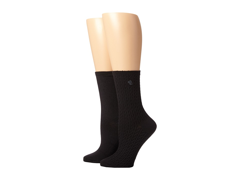 LAUREN Ralph Lauren - Supersoft Cable Trouser 2 Pack (Black) Women's Crew Cut Socks Shoes plus size,  plus size fashion plus size appare