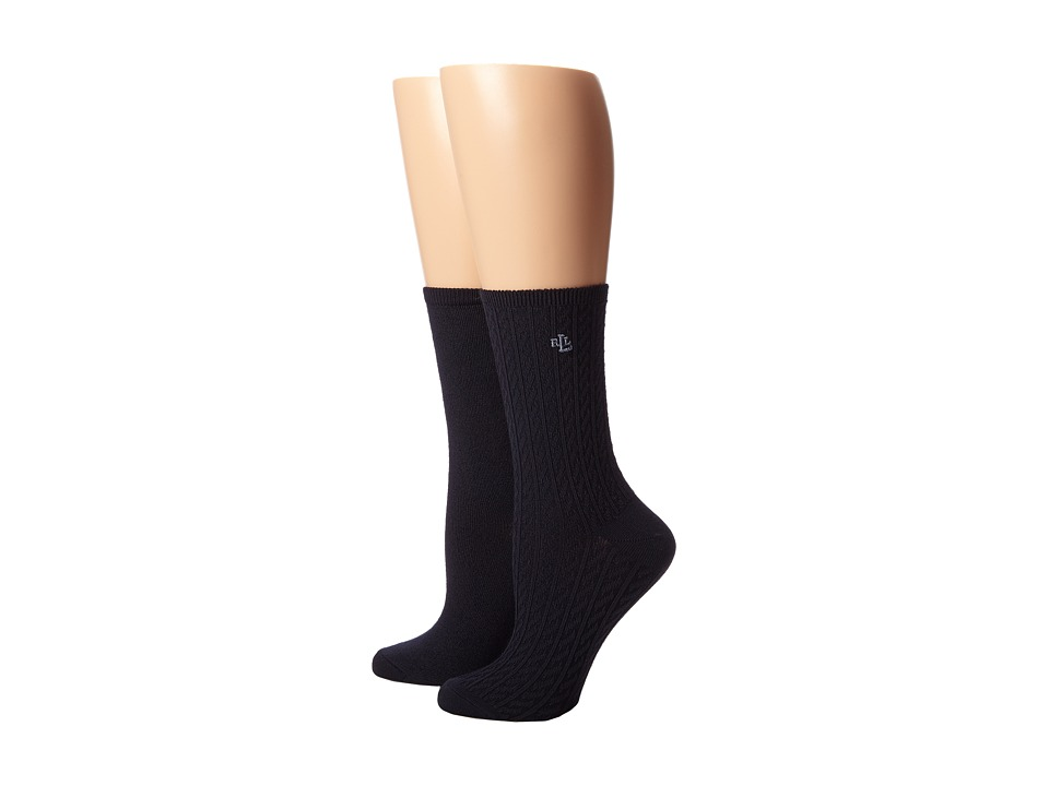 LAUREN Ralph Lauren - Supersoft Cable Trouser 2 Pack (Navy) Women's Crew Cut Socks Shoes plus size,  plus size fashion plus size appare
