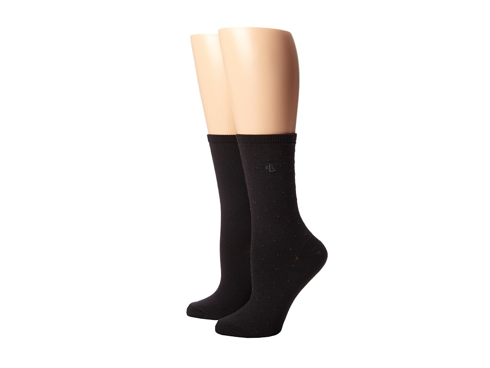 LAUREN Ralph Lauren - Supersoft Pindot/Flatknit/Solid Trouser 2 Pack (Black) Womens Crew Cut Socks Shoes
