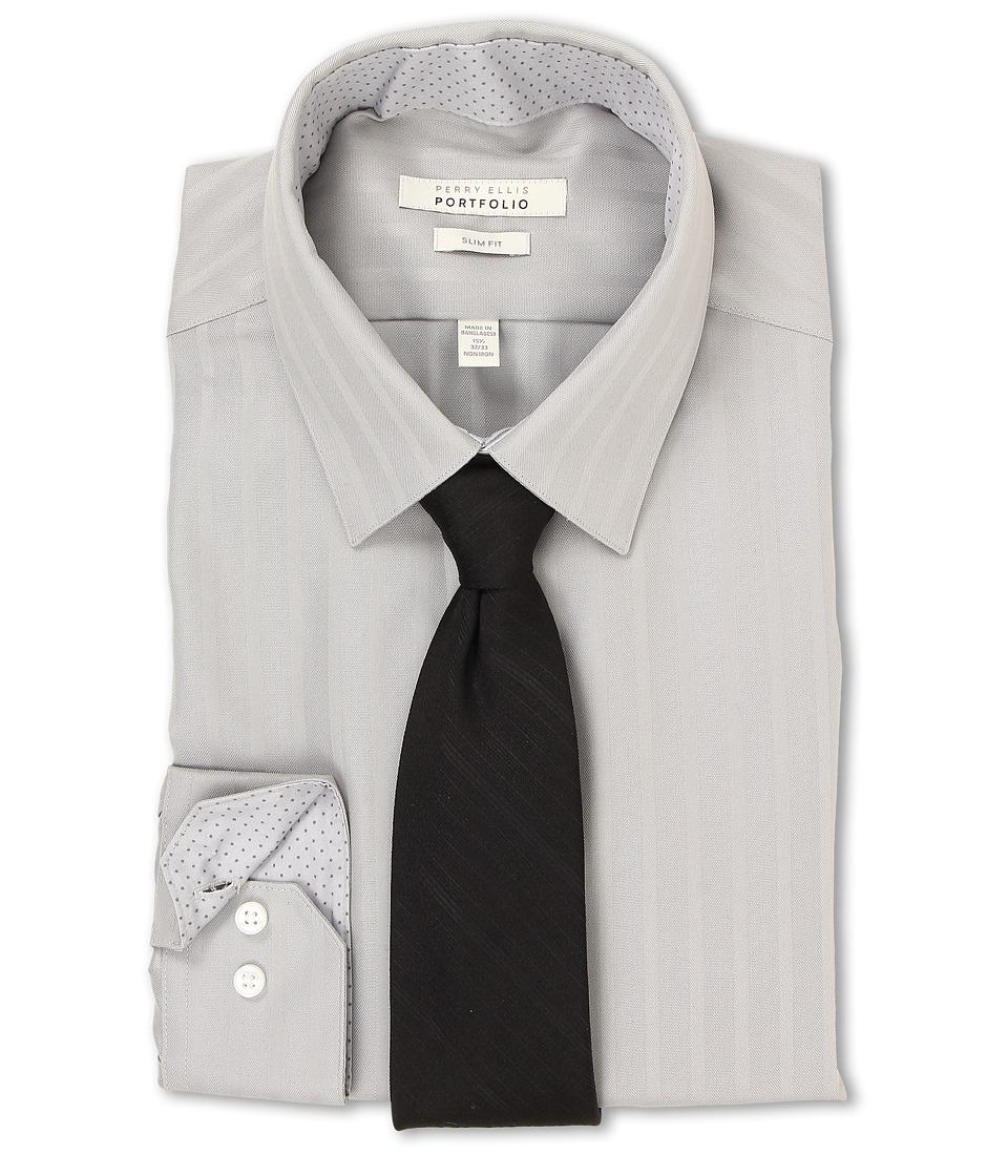 Perry Ellis Slim Fit Tonal Stripe Dress Shirt Cement Mens Long Sleeve Button Up