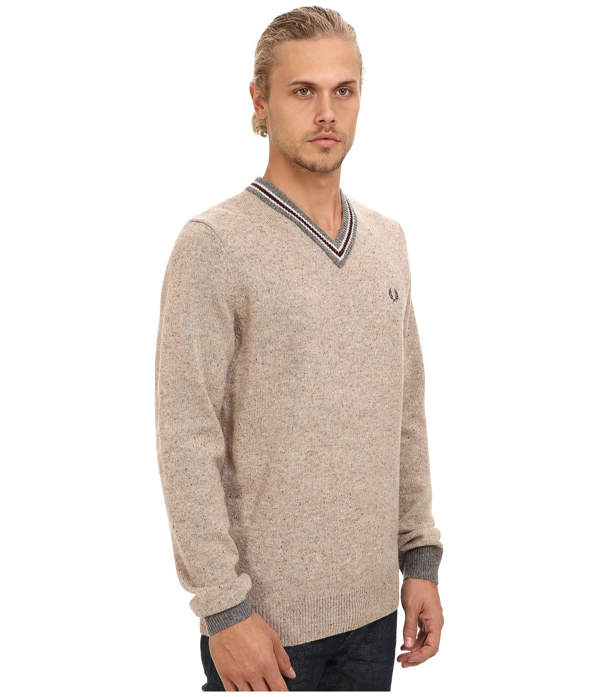 fred perry fleck knit tennis sweater men shipped free at zappos. Black Bedroom Furniture Sets. Home Design Ideas