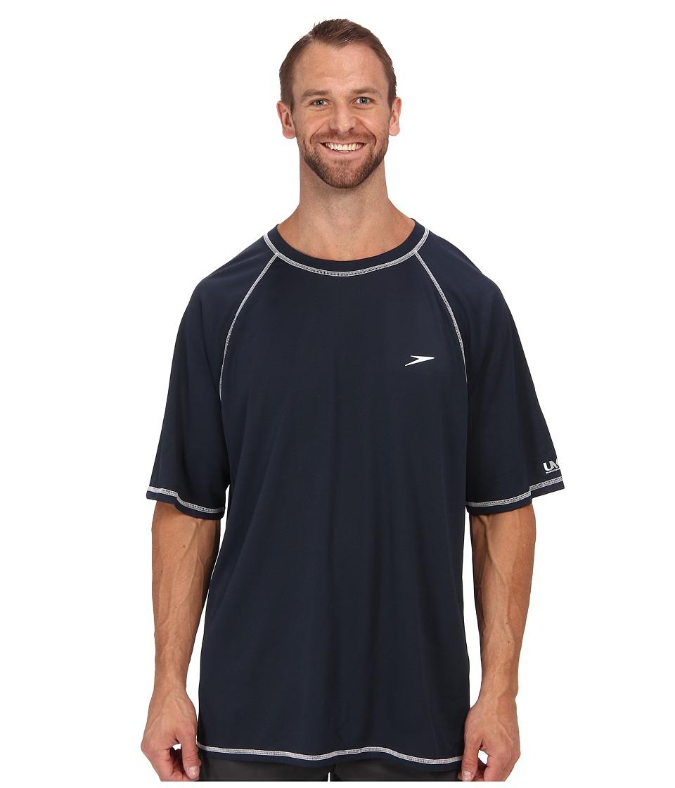 Speedo Easy S/S Swim Tee (Big) (Navy) Men's Swimwear