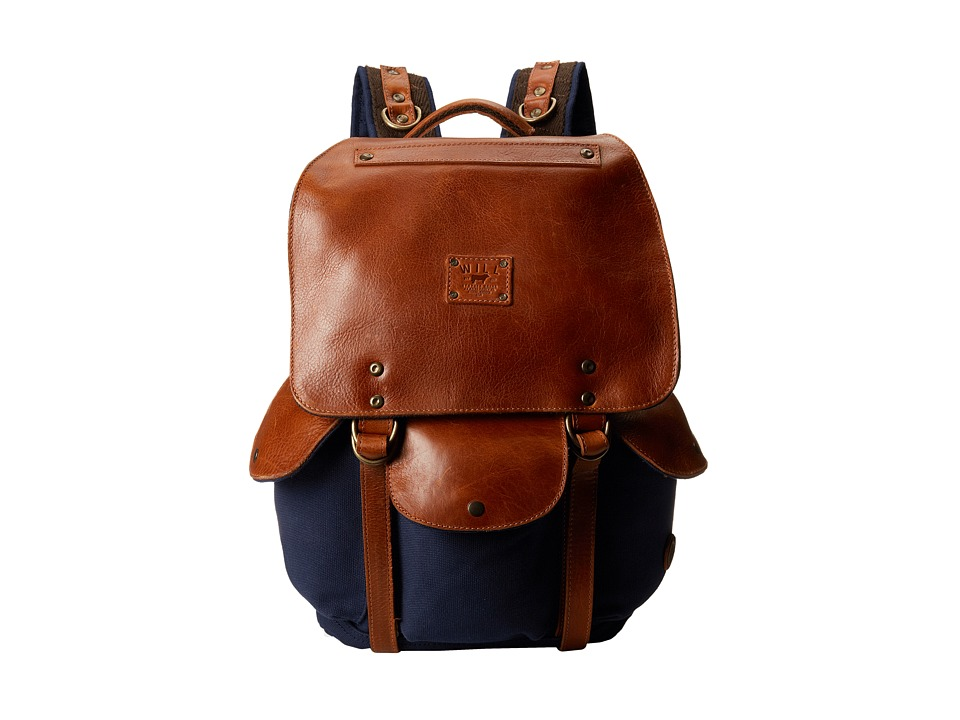 Will Leather Goods - Lennon Backpack (Navy/Tan) Backpack Bags