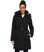 Cole Haan - Belted Down Anorak w/ Faux Fur Trim