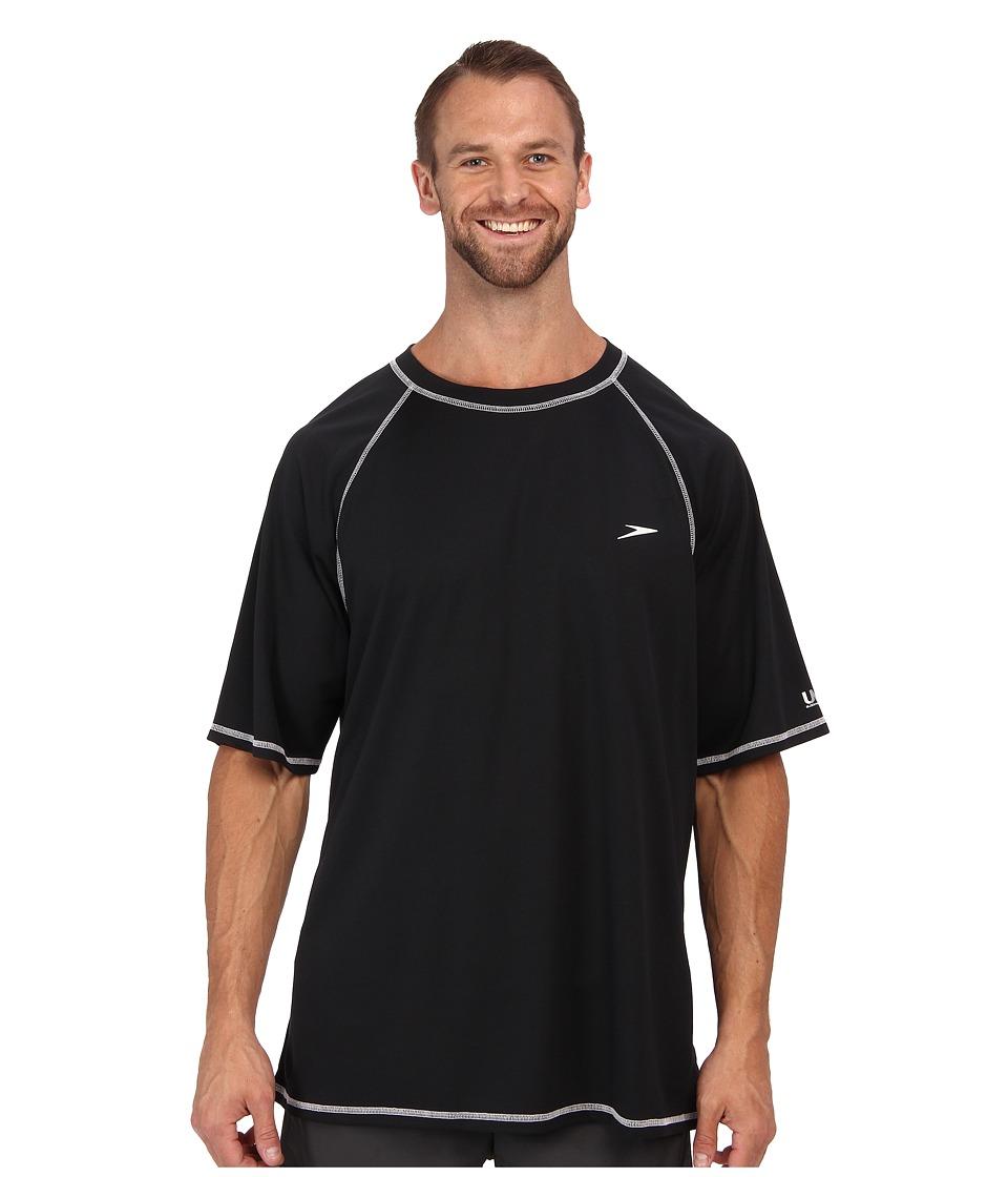 Speedo Easy S/S Swim Tee (Big) (Black) Men's Swimwear