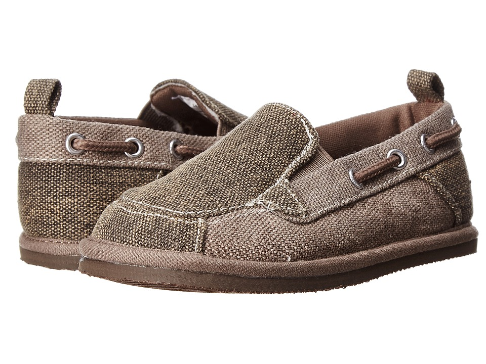 Baby Deer Distressed Canvas Slip On Infant/Toddler Brown/Taupe Boys Shoes