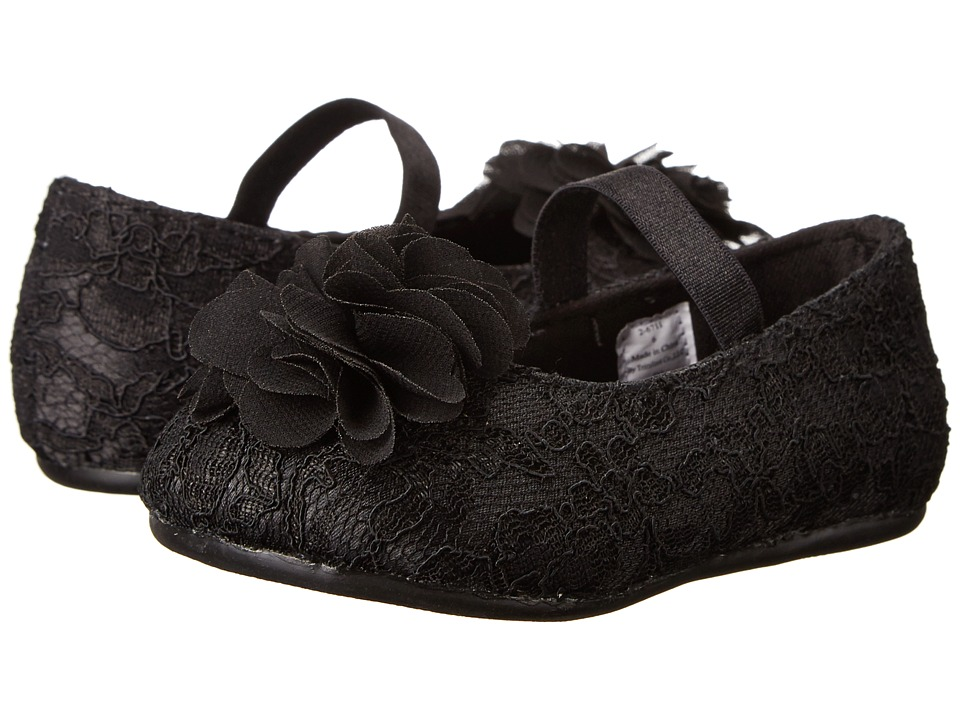 Baby Deer Satin/Lace Skimmer Infant/Toddler Black Girls Shoes