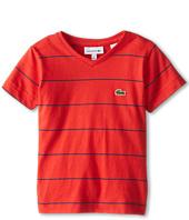 Lacoste Kids - Striped S/S V-Neck Tee (Toddler/Little Kids/Big Kids)