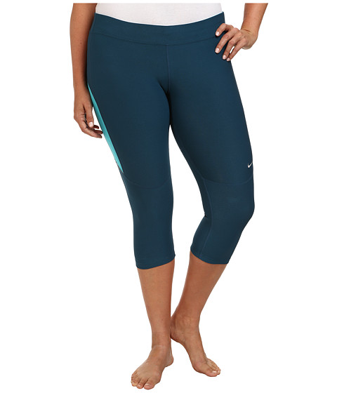 Nike Extended Size Filament Capri (Space Blue/Dusty Cactus/Matte Silver) Women's Workout