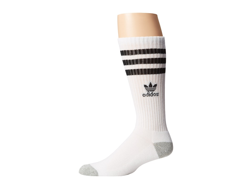 adidas Originals - Original Roller Crew Sock 1-Pair Pack (White/Black/Heather Aluminum) Mens Crew Cut Socks Shoes