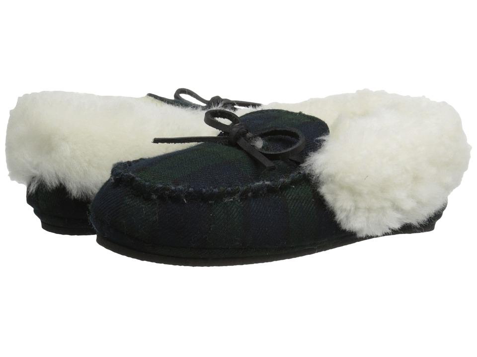 Polo Ralph Lauren Kids Allister Little Kid Blackwatch Plaid w/ Genuine Cream Shearling amp Cream Pony Player Kids Shoes