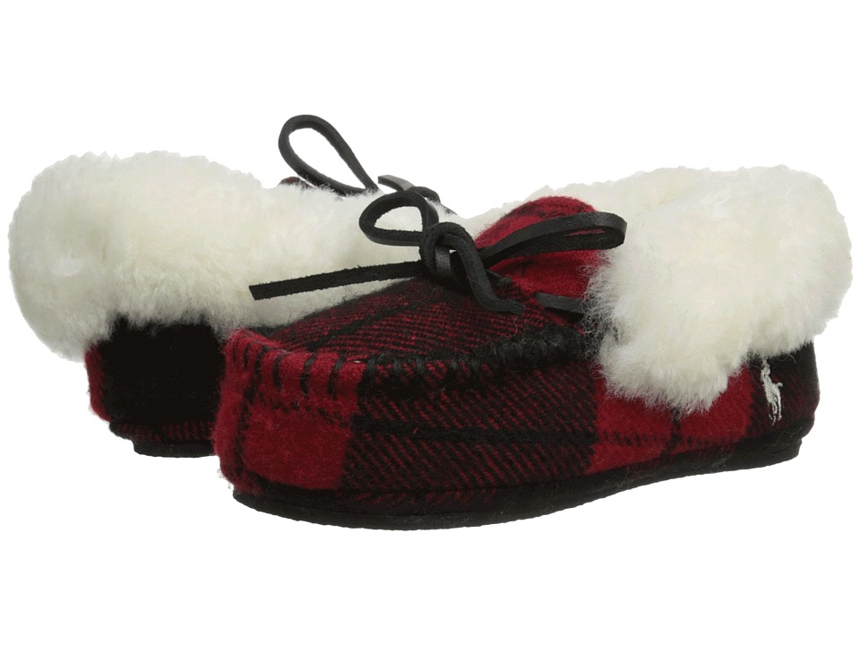 Polo Ralph Lauren Kids Allister Toddler Buffalo Plaid w/ Genuine Cream Shearling amp Cream Pony Player Kids Shoes