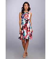 Eliza J  Printed Chiffon Dress w/ Ruched Waist  image