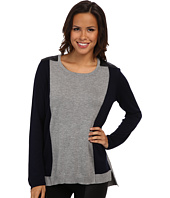 TWO by Vince Camuto - Colorblock Sweater w/ Quilted Pleather Shoulders
