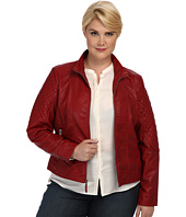 Jessica Simpson - Plus Size Quilted Faux Leather Moto Jacket With Band Collar