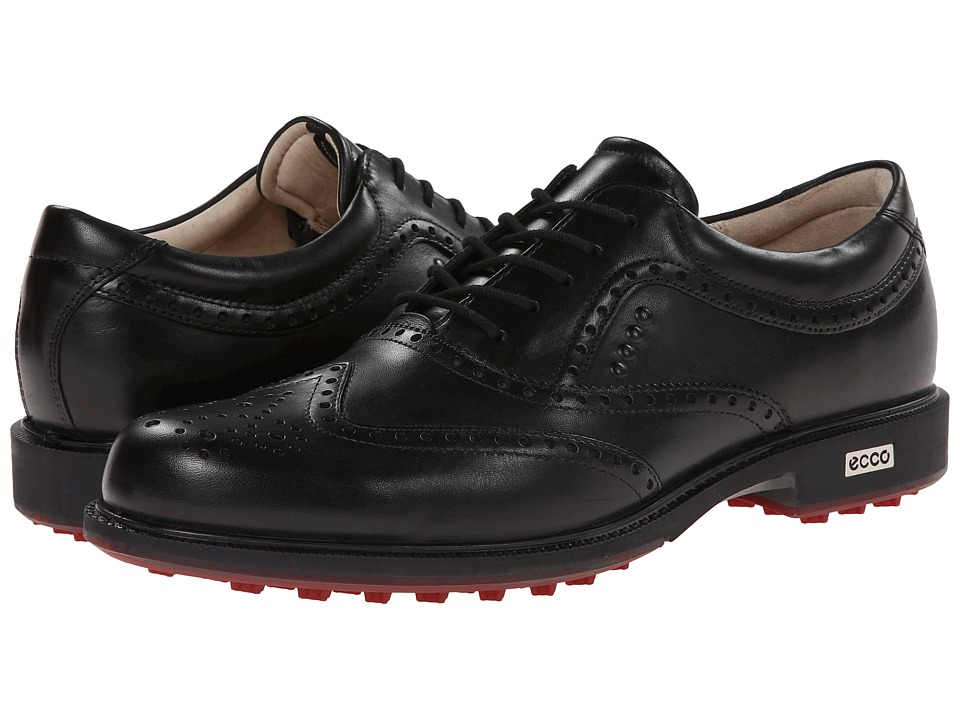 ECCO Golf - Tour Hybrid Wingtip (Black/Brick) Men